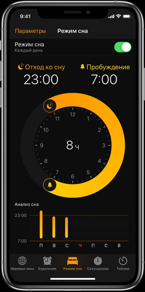 Вкладка «Режим сна», на которой показано время отхода ко сну в 23:00 и время пробуждения в 7:00.