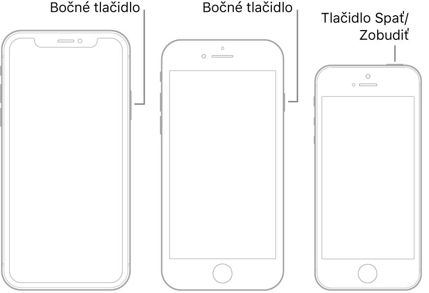 Ilustrácia, na ktorej je znázornená poloha tlačidla Spať/Zobudiť na bočnej strane iPhonu.