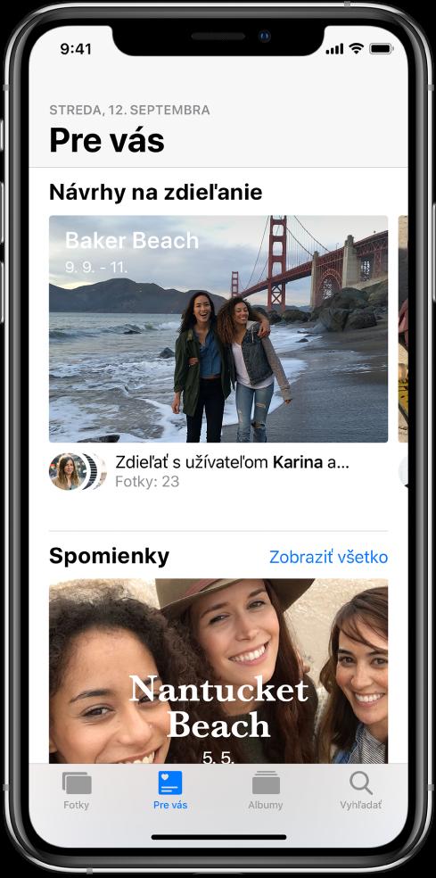 Apka Fotky zobrazujúca tlačidlo Pre vás, ktoré je vybraté v spodnej časti obrazovky, aNávrh na zdieľanie vhornej časti obrazovky.