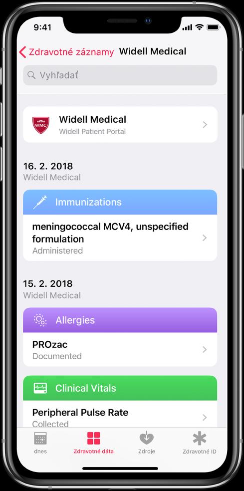 Obrazovka zdravotných záznamov vchronologickom poradí snajnovšími záznamami navrchu. Ako zdroj záznamov je vhornej časti obrazovky uvedená spoločnosť Widell Medical ajej portál pacientov. Najnovší záznam je zo 16. februára 2018. Jedná sa oočkovanie podané pre meningokok MCV4, nešpecifikovaná formulácia. Pod záznamom oočkovaní sú dva záznamy z15. februára 2018, jeden pre alergiu na PROzac adruhý informuje ozaznamenaní periférneho pulzu.