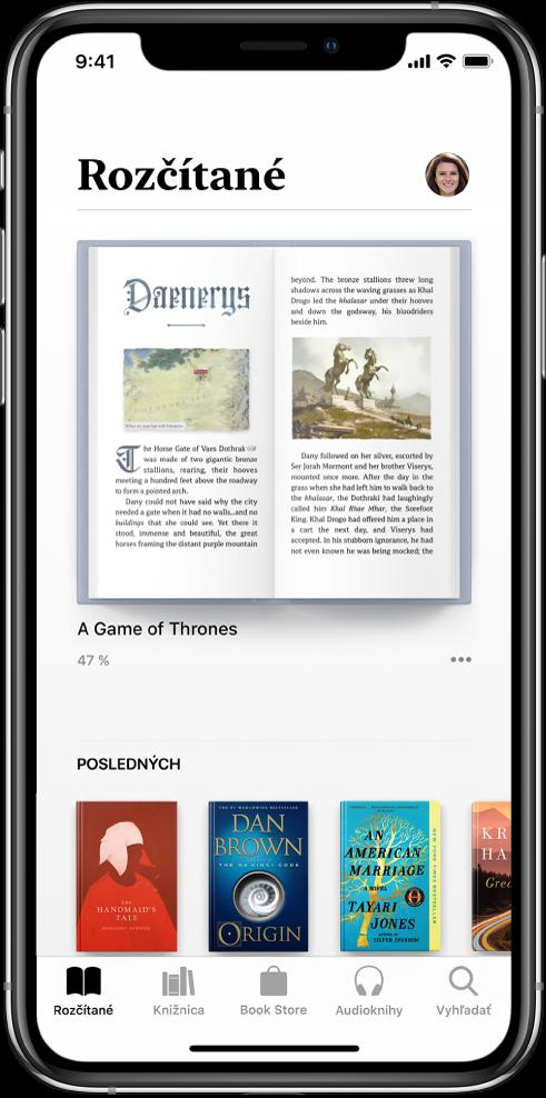 Obrazovka Rozčítané vapke Knihy. Naspodku obrazovky sú zľava doprava taby Rozčítané, Knižnica, Book Store, Audioknihy aVyhľadať.