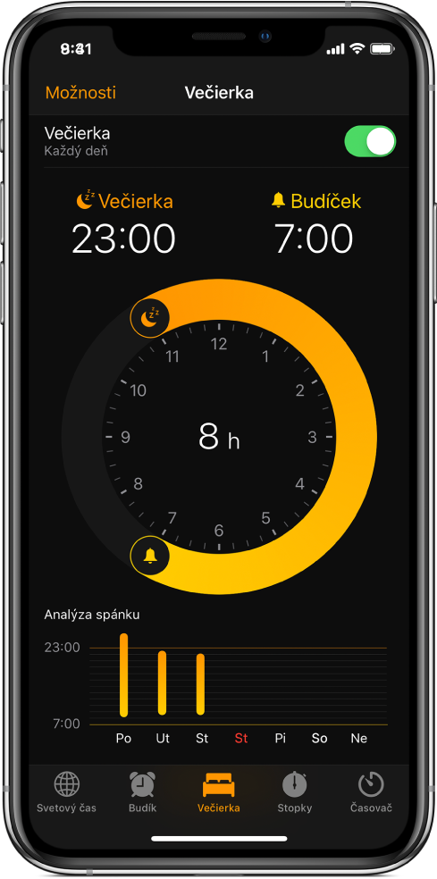 Je vybraté tlačidlo Večierka vapke Hodiny so zobrazeným časom vyhradeným pre spánok medzi 23:00 a7:00.