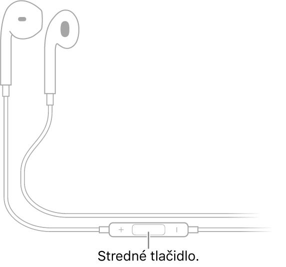 Slúchadlá Apple EarPods; stredné tlačidlo sa nachádza na kábli, ktorý vedie kpravému slúchadlu