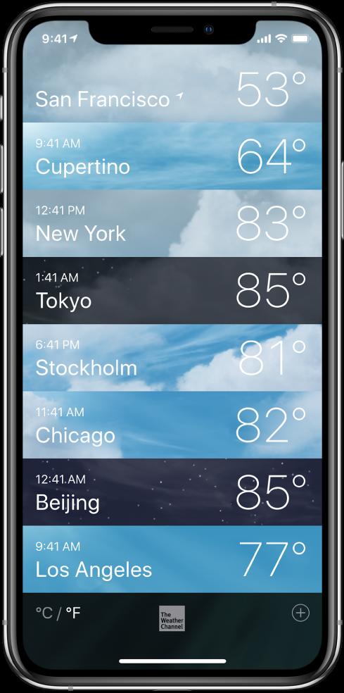 Seznam mest z navedenim časom in trenutno temperaturo v vsakem od njih.
