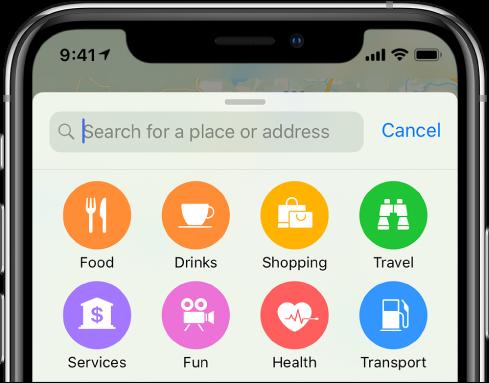 Gumbi za osem storitev so prikazani pod iskalnim poljem. V zgornji vrstici so gumbi »Food«, »Drinks«, »Shopping« in »Travel«. V spodnji vrstici so gumbi »Services«, »Fun«, »Health« in »Transport«.