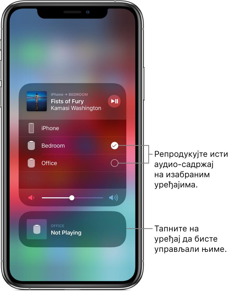 """Екран услуге AirPlay у ком су приказане две картице. Отворена аудио-картица за iPhone се налази при врху и показује назив нумере и извођача. Ова картица показује два звучника (у спаваћој соби и канцеларији), при чему је изабран звучник у спаваћој соби. Облачић показује на два звучника и у њему пише: """"Play the same audio on selected devices"""". Клизач за јачину звука приказан је при дну отворене картице. При дну екрана је затворена картица за звучник у канцеларији, на којој је приказано обавештење Not Playing. Облачић показује на затворену картицу при дну и у њему пише: """"Tap a device to control it""""."""