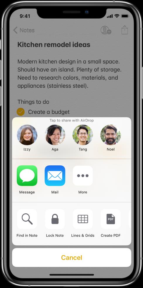 Екран дељења са опцијама за дељење белешке помоћу функције AirDrop или преко апликације Messages или Mail.