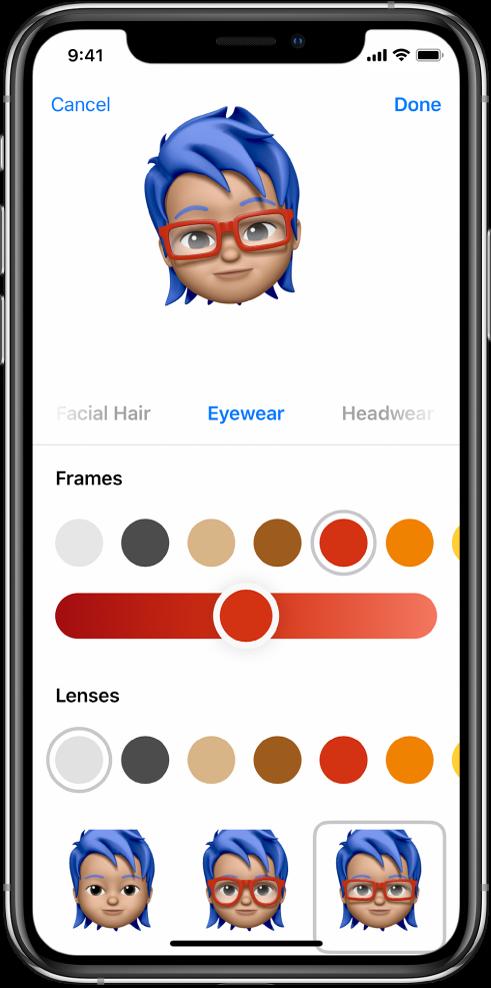 Екран за креирање Memoji емотикона, при чијем се врху налази лик који се креира, испод њега су карактеристике за прилагођавање лика, а испод њих су опције за изабрану карактеристику. У доњем десном углу је приказано дугме Done, док је у доњем левом углу приказано дугме Cancel.