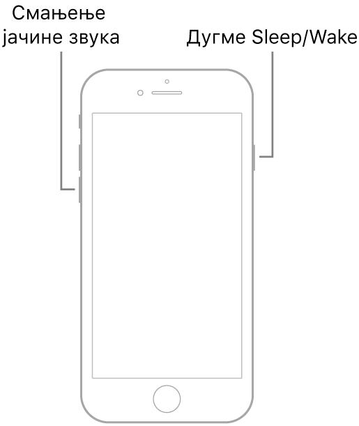 Цртеж модела iPhone 7 са екраном окренутим нагоре. Дугме за смањење јачине звука је приказано са леве бочне стране уређаја, а дугме Sleep/Wake са десне бочне стране.