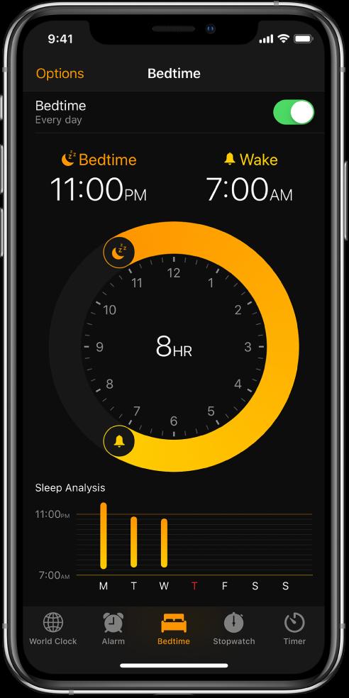 Картица Bedtime на којој су приказани време спавања са почетком у 11 PM и време буђења подешено на 7 AM.