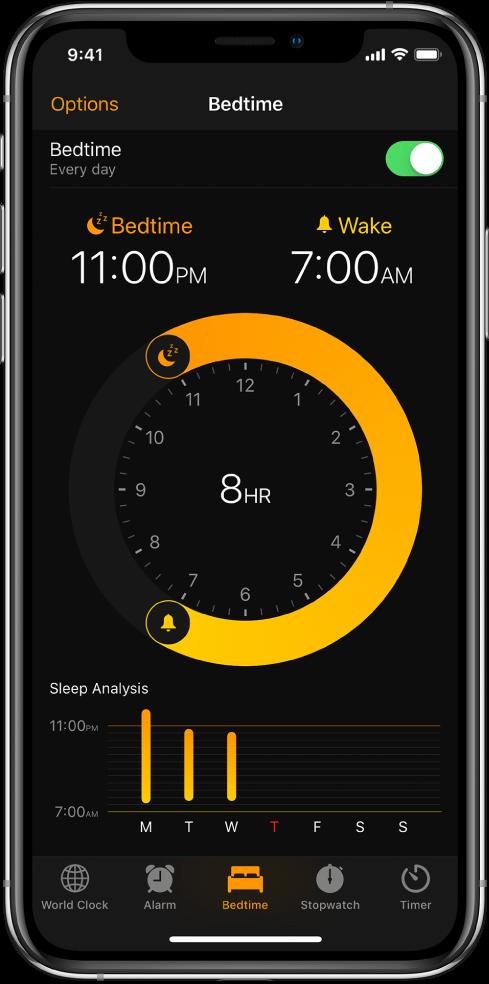 У апликацији Clock је изабрано дугме Bedtime, и види се да време спавања почиње у 11:00 p.m., док је време буђења подешено на 7:00 a.m.