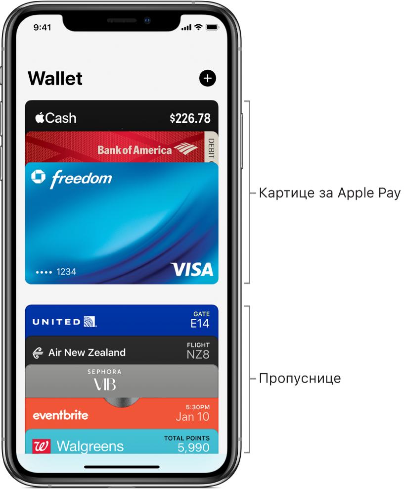 На екрану апликације Wallet можете да видите неколико кредитних и дебитних картица и пропусница које најчешће користите.