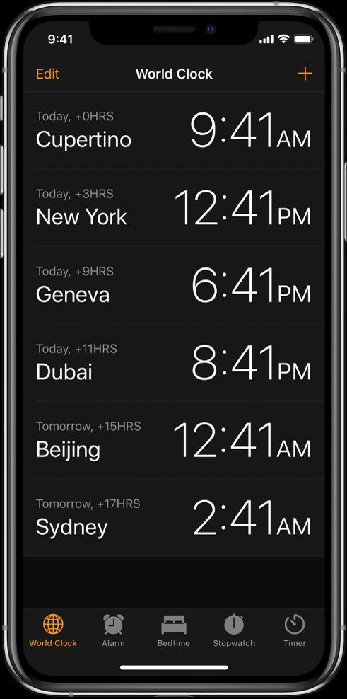 Картица World Clock на којој је приказано време у различитим градовима. Тапните на Edit у левом горњем делу екрана да бисте уредили часовнике. Тапните на дугме Add у горњем десном делу екрана да бисте додали још. Дугмад Alarm, Bedtime, Stopwatch и Timer су смештена дуж доње ивице.