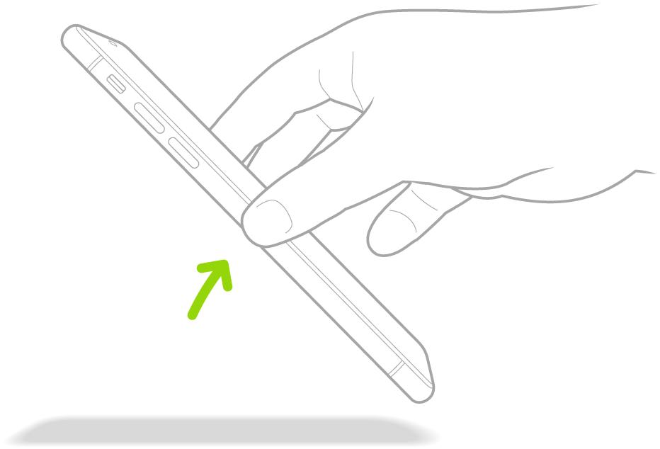 Цртеж на коме је приказан метод подизања iPhone-а ради покретања из стања мировања.