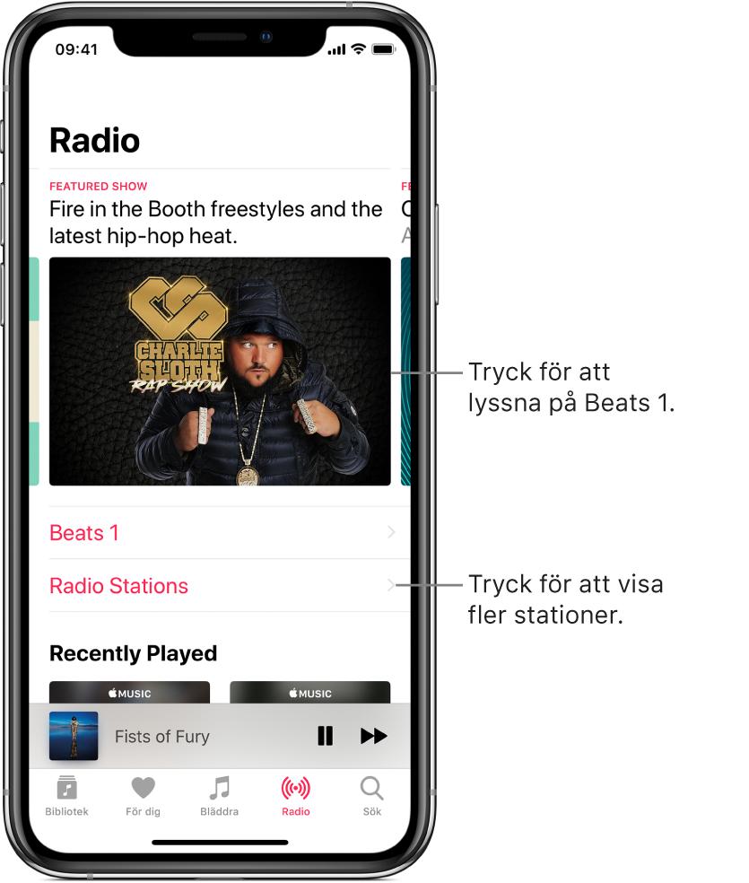 Radioskärmen med Beats 1 Radio högst upp. Beats1 och radiostationer visas nedan.