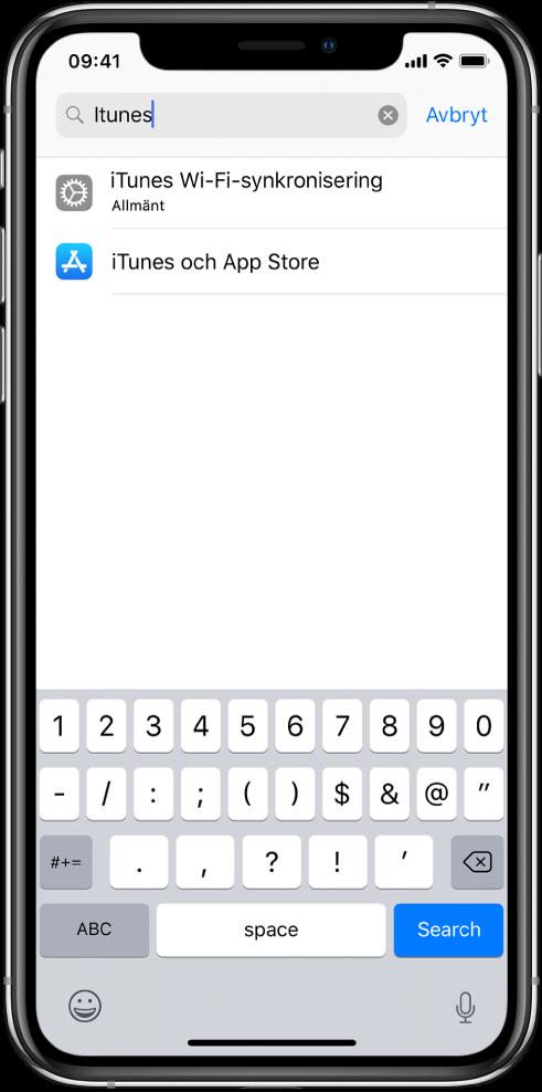 """Skärmen för sökning efter inställningar med sökfältet högst upp. Söksträngen """"iTunes"""" står i sökfältet och två hittade inställningar finns i listan nedanför."""