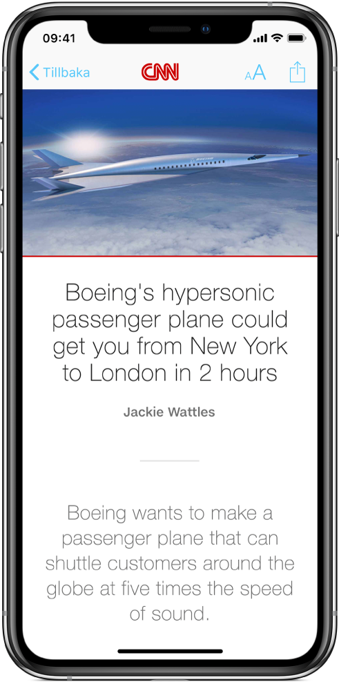 En nyhetsartikel som öppnats via appen Aktier visas i appen News. Överst på skärmen visas, från vänster till höger, knappen Tillbaka och knapparna för utseende och delning.