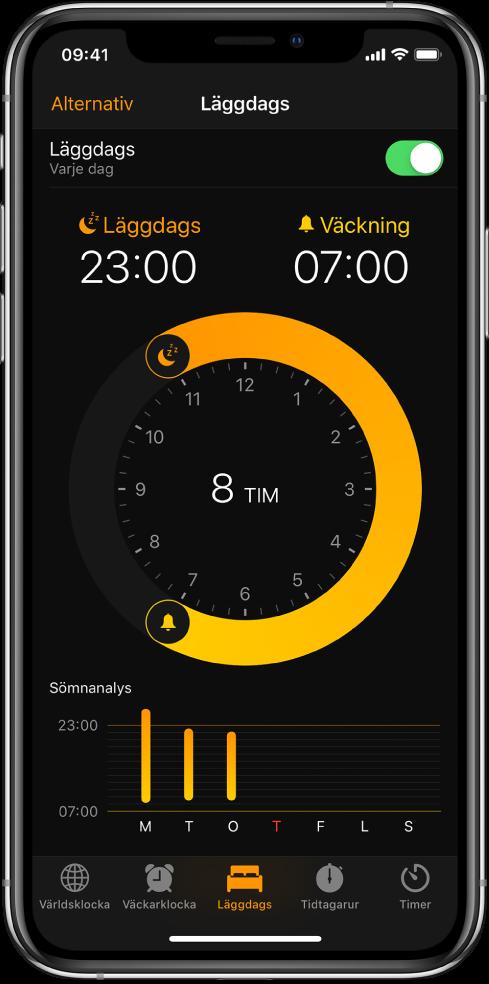Knappen Läggdags är vald i appen Klocka och visar läggdags kl.23:00 samt väckning inställd på kl.07:00.