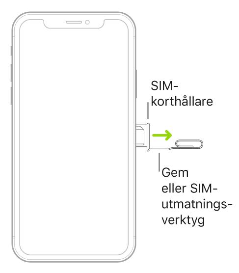 Ett gem eller SIM-utmatningsverktyget har placerats i det lilla hålet på korthållaren på höger sida av iPhone för att mata ut och ta bort hållaren.