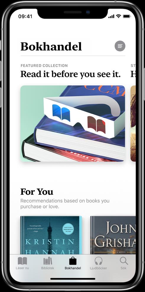 En skärm i Bokhandel i appen Böcker. Längst ned på skärmen visas, från vänster till höger, flikarna Läser nu, Bibliotek, Bokhandel, Ljudböcker och Sök. Fliken Bokhandel är vald. På skärmen visas även böcker och kategorier av böcker som du kan bläddra bland och köpa.