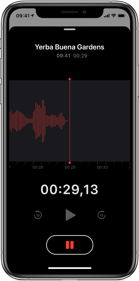 En Röstmemon-skärm med en inspelning som pågår.