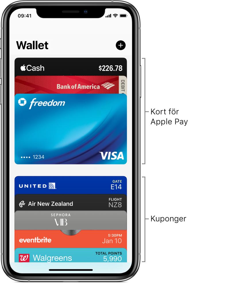 Wallet-skärmen med överdelen på flera kreditkort, bankkort och kuponger.