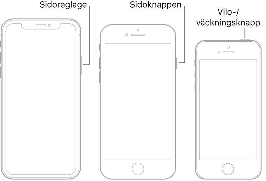 En illustration som visar var sidoknappen och vilo-/väckningsknappen sitter på iPhone.