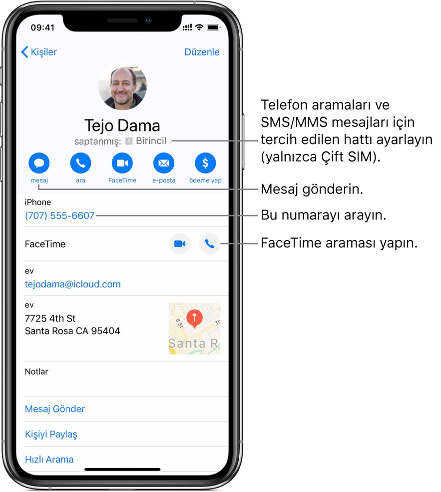 Kişi için bilgi ekranı. Kişinin fotoğrafı ve adı en üsttedir. Altında mesaj gönderme, telefon araması yapma, FaceTime araması yapma ve e-posta iletisi gönderme düğmeleri vardır. Düğmelerin altında iletişim bilgileri yer alır.