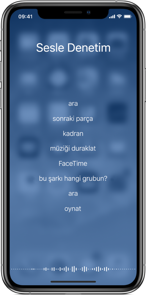 Kullanabileceğiniz komut örneklerini gösteren Sesle Denetim ekranı. Ekranın en altında bir dalga biçimi görünür.