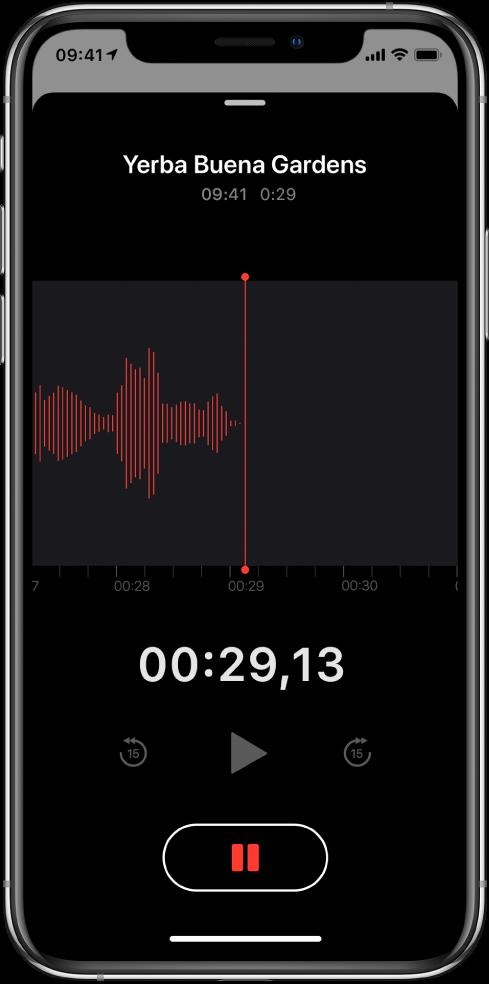 Екран програми «Диктофон», на якому відображено процес записування.