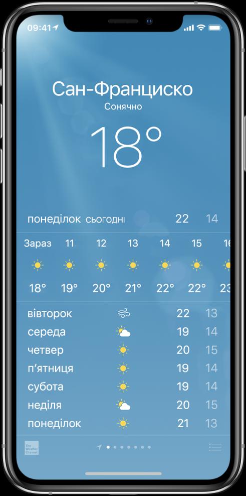 Екран програми «Погода», на якому зображено місто, поточні погодні умови й температуру. Нижче розташовано поточний погодинний прогноз і прогноз на наступні 5днів. Ряд точок по центру внизу екрана означає кількість міст.