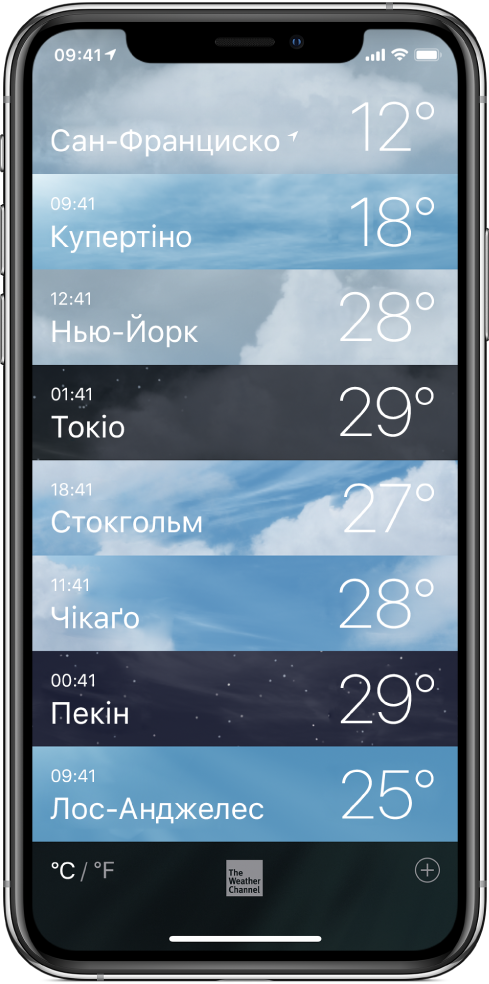 Список міст із часом і поточною температурою для кожного.