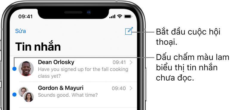 Danh sách Tin nhắn, với nút Sửa ở trên cùng bên trái và nút Soạn ở trên cùng bên phải. Một dấu chấm màu lam ở bên trái của tin nhắn cho biết rằng tin nhắn chưa được đọc.