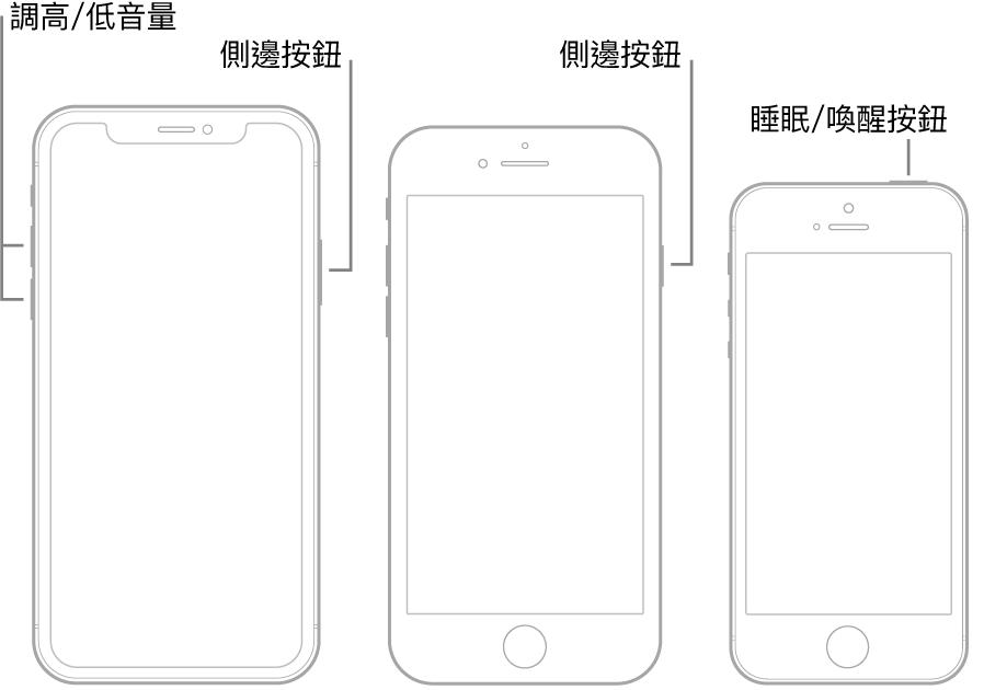 三種 iPhone 型號,正面朝上的插圖。最左邊的插圖顯示裝置左側的調高音量和調低音量按鈕。右邊顯示的是側邊按鈕。中間的插圖顯示裝置右側的側邊按鈕。最右邊的插圖顯示裝置頂端的「睡眠/喚醒」按鈕。