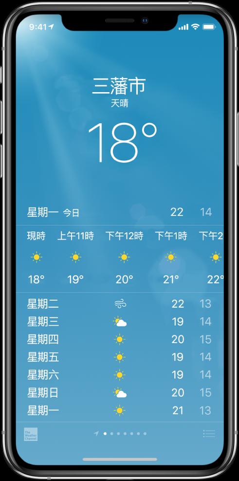 「天氣」畫面顯示城市、目前天氣狀況和目前的氣溫。在其下方為目前每小時的預測,然後是未來 5 日的天氣預報。位於中央底部的一排圓點顯示你的城市數量。