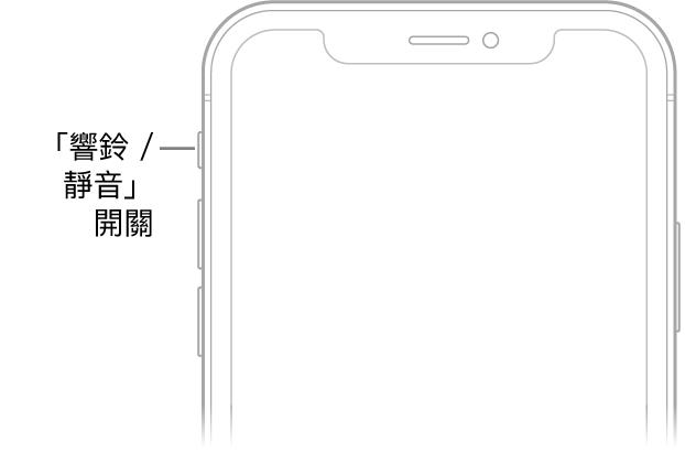 iPhone 的正面上半部,帶有說明文字指向「響鈴/靜音」切換。
