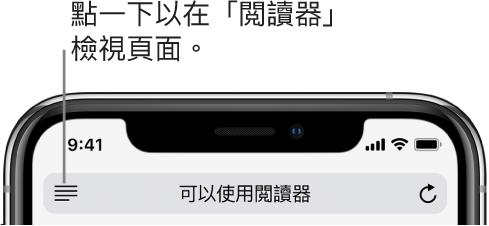 Safari 中的網址欄位,左側帶有「閱讀器」按鈕。