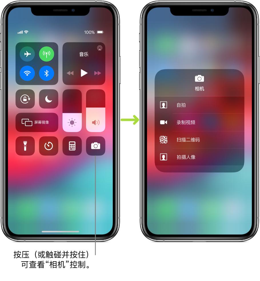 """两个并排的""""控制中心""""屏幕,左边屏幕左上方的群组中显示飞行模式、蜂窝移动数据、Wi-Fi 和蓝牙的控制,并且有标注提示按压(或触碰并按住)""""相机""""以查看""""相机""""控制。右边的屏幕显示""""相机""""的附加选项:""""自拍""""、""""录制视频""""、""""扫描二维码""""和""""拍摄人像""""。"""