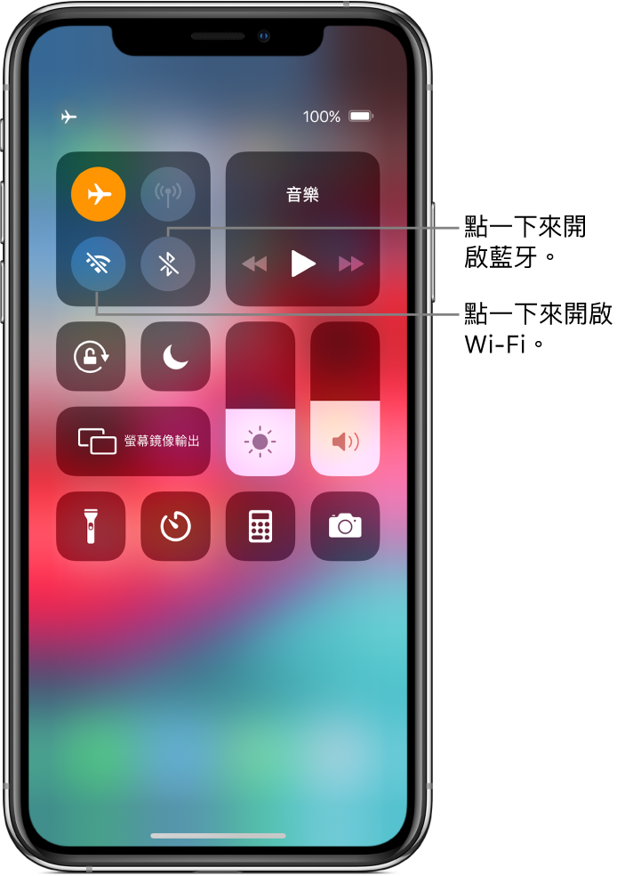 「控制中心」中的「飛航模式」為開啟,以及說明文字說明點一下左上方控制項目群組中的左下角按鈕即可打開 Wi-Fi,點一下該群組右下角的按鈕則可打開藍牙。