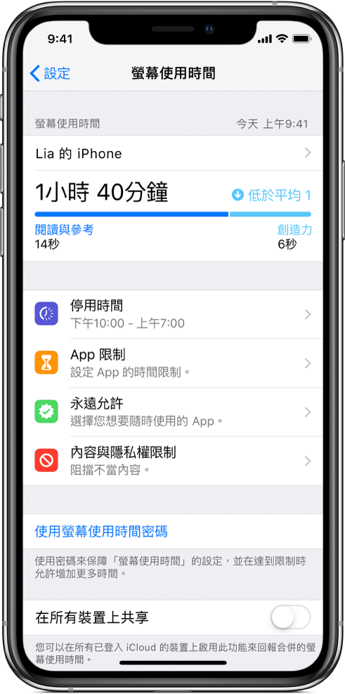您可開啟的「螢幕使用時間」設定:「停用時間」、「App 限制」、「永遠允許」和「內容與隱私權限制」。