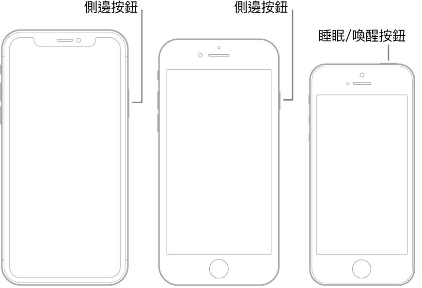 三種不同 iPhone 機型的側邊或睡眠/喚醒按鈕。