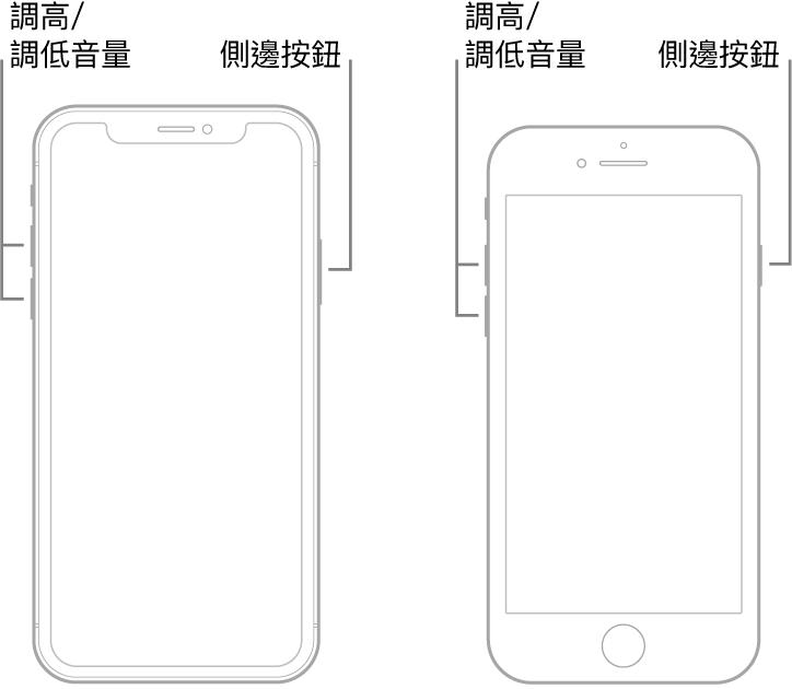 兩種 iPhone 機型正面朝上的插圖。最左方的機型沒有主畫面按鈕,而最右方的機型裝置底部附近有主畫面按鈕。兩種機型的調高和調低音量按鈕都顯示在裝置的左側,側邊按鈕則顯示在右側。