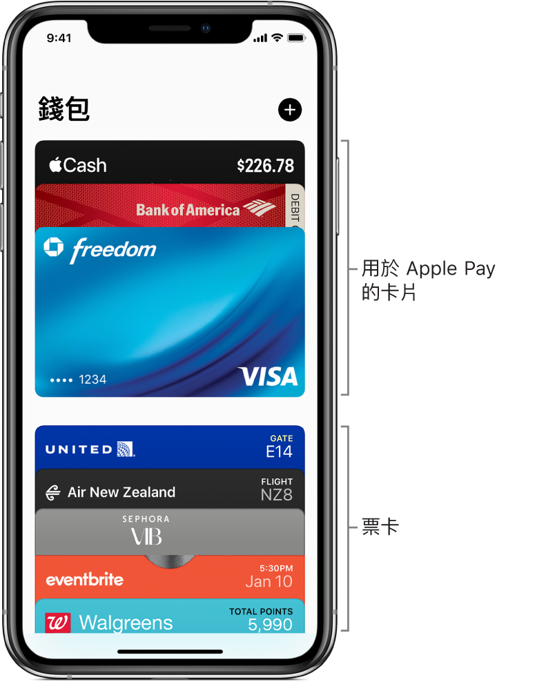 「錢包」畫面,顯示多張信用卡和金融卡以及票卡。
