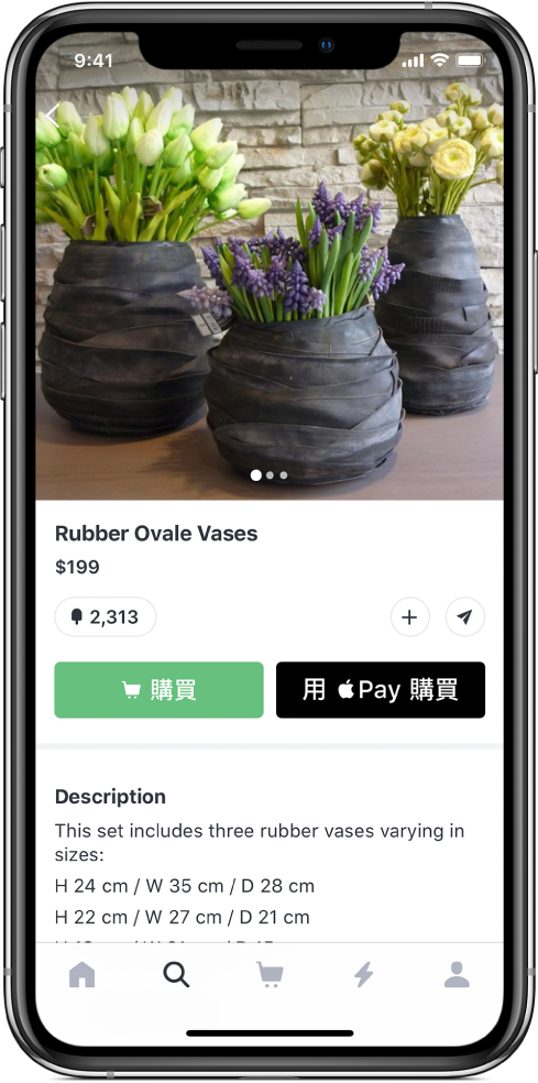 App 顯示付款畫面,包含「用 ApplePay 購買」按鈕。