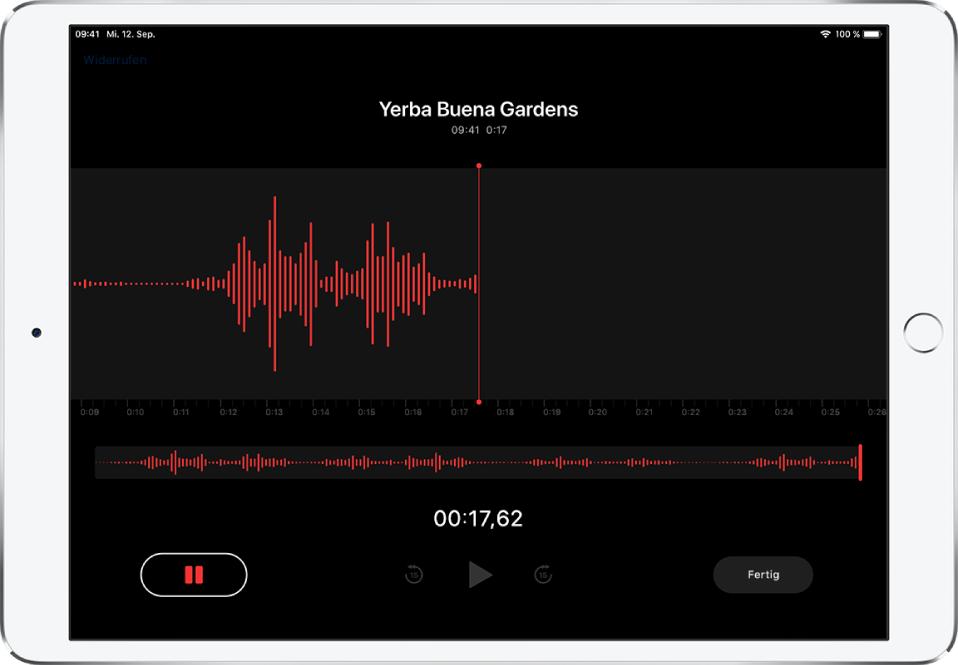 """Der Bildschirm """"Sprachmemos"""" während einer Aufnahme."""