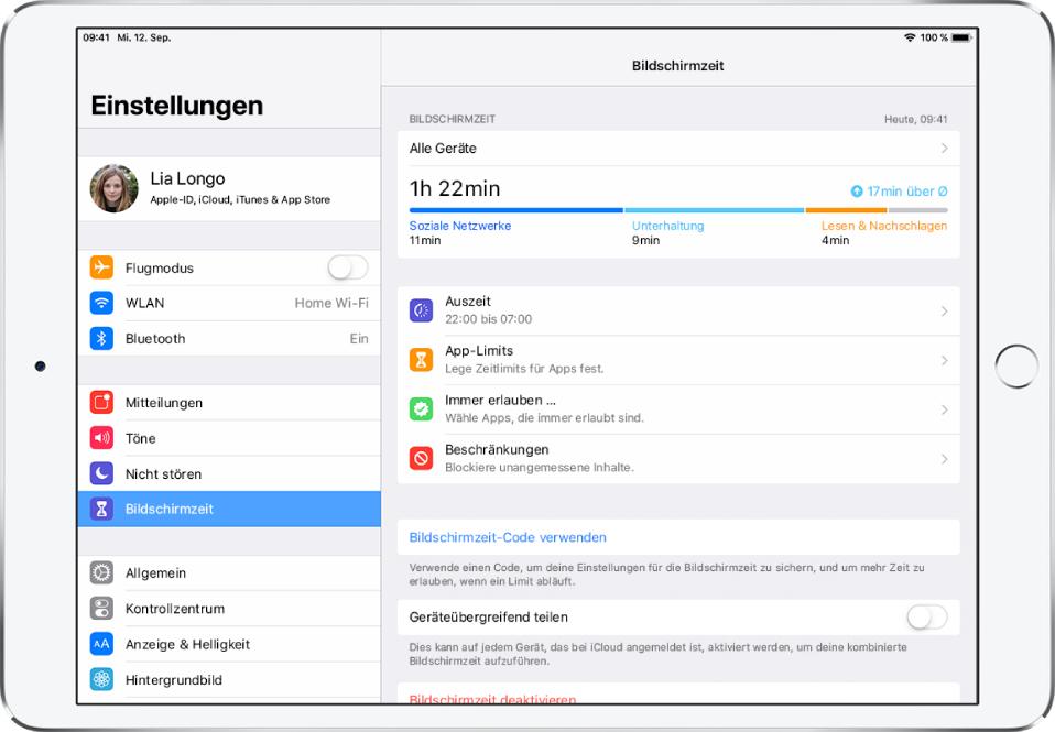"""Ein Bildschirm zur Option """"Bildschirmzeit"""" mit einem Nutzungsbericht und zeitlichen Beschränkungen für die Nutzung bestimmter Apps."""