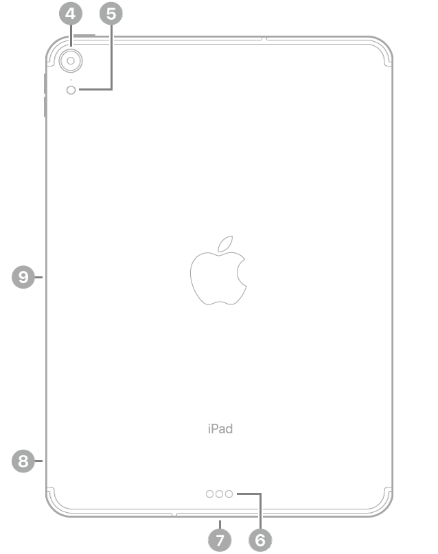 The back view of iPad Pro with callouts going clockwise from the top left: rear camera, flash, Smart Connector, USB-C Connector, SIM tray (Wi-Fi + Cellular), and magnetic connector for Apple Pencil.