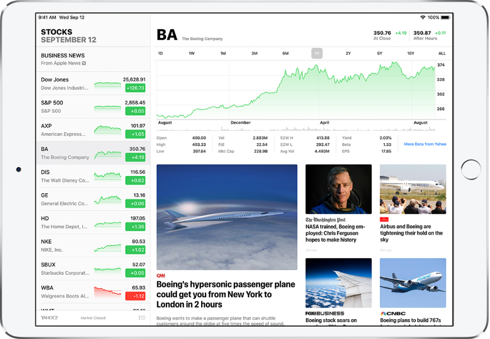 A screen in Stocks, with iPad in landscape orientation. The watchlist is on the left. To the right of the watchlist is an interactive chart for a specific stock to compare its price change over different time ranges and additional details about that stock. Below the chart are business news stories about that stock from different sources.