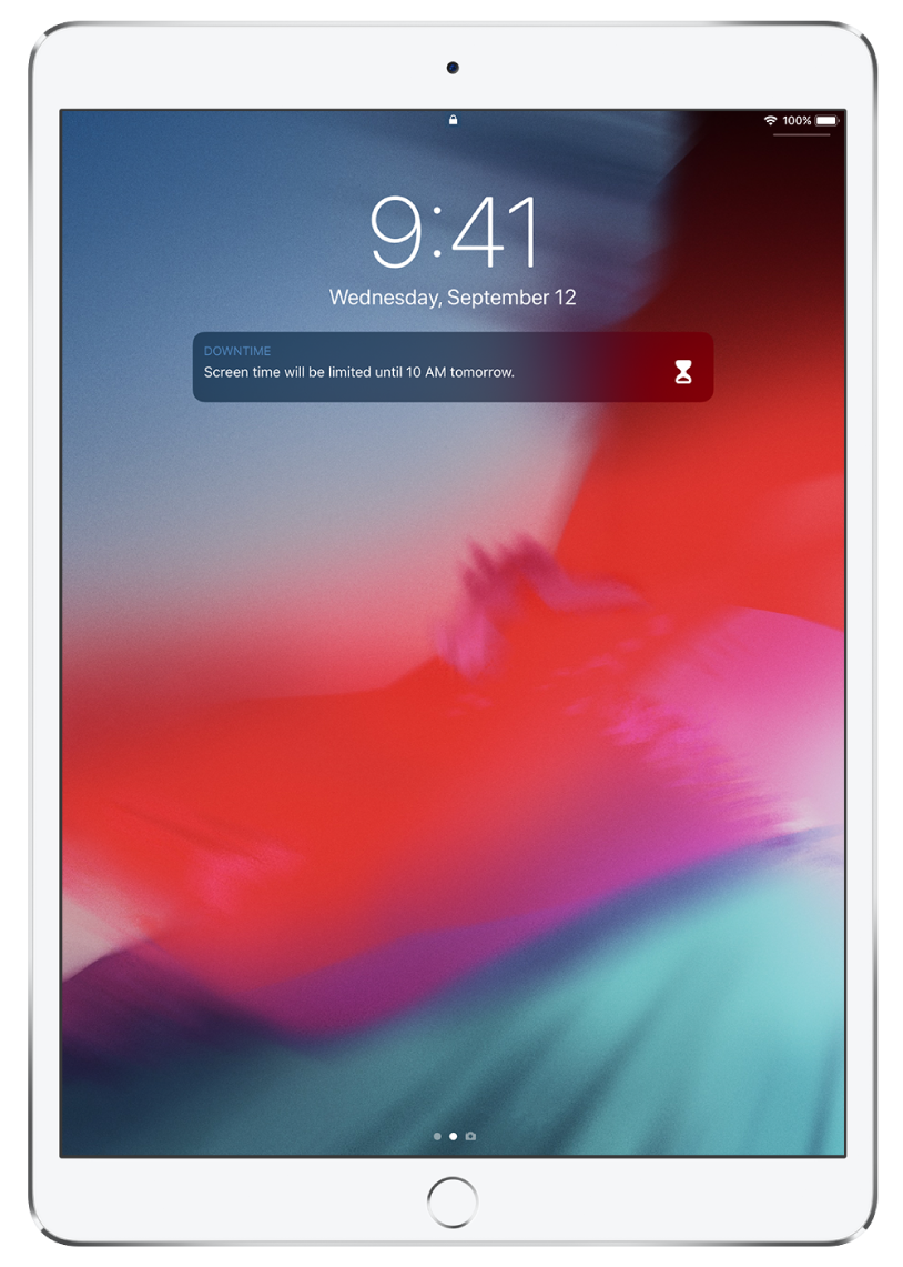 The iPad Lock screen showing a Downtime notification that Screen Time is limited until 10:00 a.m.
