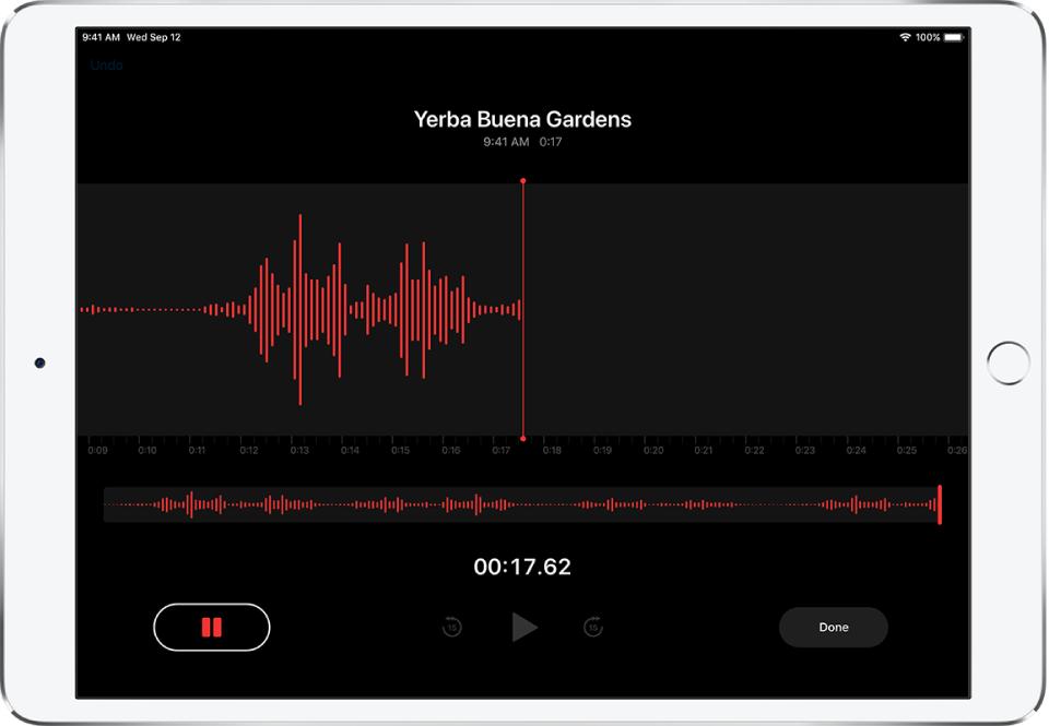 A Voice Memos screen showing recording in progress.